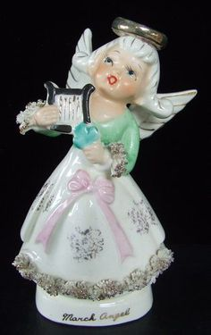 Vintage Napco Norcrest March Birthday Angel Doll #2H2464  FREE SHIP #0-115