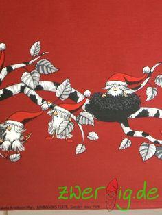 Weihnachtsstoffe - Baumwolle mit Troll-/Wichtel-Bordüre - Arvidssons - ein Designerstück von zwergigDE bei DaWanda
