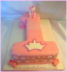 Number One (1) Shaped Birthday Cake - by Lorna @ CakesDecor.com - cake decorating website Love this ❤