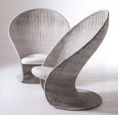 Foglia rattan chair by Giovanni Travasa 1968