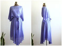 1980s Silk Purple Dress  Flowy Chiffon Midi Dress  by xYATESx