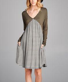Olive Stripe-Contrast V-Neck Dress