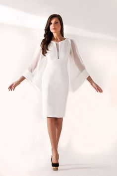 Trendy evening dresses: MORGANE: Short dress with flared silk sleeves, lined with strech fabric to mark the feminine silhouette - mangas - Dress Outfits, Fashion Dresses, Elegant Dresses, Formal Dresses, Short Sleeve Dresses, Dresses With Sleeves, Classy Dress, Belted Dress, Boho Dress