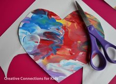finger paint valentine (see 200+ valentine craft ideas for kids at bottom of page)
