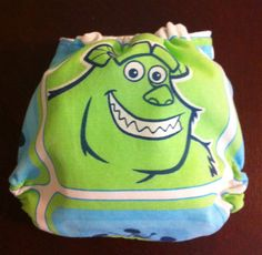 Disney Pixar Monster's Inc. Sulley One Size Fitted Cloth Diaper, Blue, Lime Green,. $12.00, via Etsy.