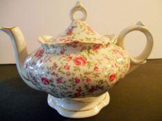 Vintage Tea Pot Music Box Lefton Japan Hand painted Roses