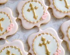 Rosas y blancas bautismales Cookies galletas por thesweetesttiers