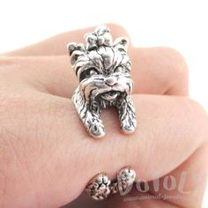 Yorkshire Terrier Dog Shaped Animal Wrap Around Ring in Silver | Sizes 5 to 8