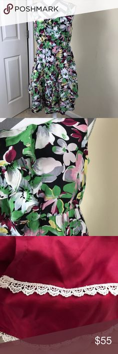 """🌷Moulinette Soeurs Anthro Akebia Floral Dress New Without Tags, Never worn, only flaw is sewn tag has been cut Moulinette Soeurs Anthropologie Green Pink Akebia Floral Print Dress   Retails for $168 Size:  Women's 10 Measurements Laying down flat: 36.5"""" long, 18.5"""" across bust, 14.5"""" across waist, 21"""" across hips Material: Silk Blend (tag was removed) Description: Exposed back zipper, lined, layered floral print, thin straps, elastic waist Anthropologie Dresses"""