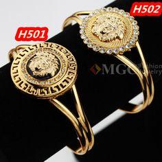 Vintage Items  Lion Head Beautiful Medusa Rhinestone Cuff  Bangles Bracelets 18K Gold Plated Jewelry For Women Or Men MGC H501 $6.98