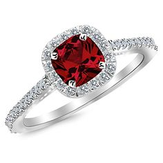083 Ctw 14K White Gold Cushion Halo Diamond Engagement Ring w 050 Carat Ruby Diamond ** Read more  at the image link.