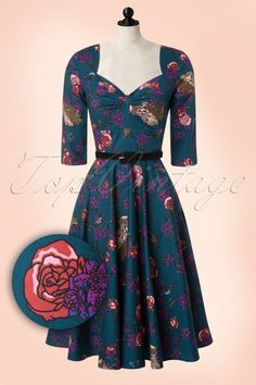 Bunny - 50s Woodland Floral Dress in Petrol