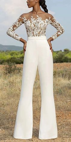 Dresses Casual round neck long sleeve jumpsuit, long sleeves design and short sleeves design you can Evening Dresses, Prom Dresses, Formal Dresses, Wedding Dresses, Wedding Dress For Short Women, Casual Jumpsuit, Elegant Jumpsuit, White Pantsuit, White Jumpsuit