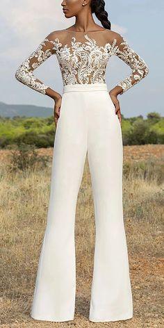 Dresses Casual round neck long sleeve jumpsuit, long sleeves design and short sleeves design you can Casual Jumpsuit, Elegant Jumpsuit, Jumpsuit Hijab, Bridal Jumpsuit, Evening Dresses, Formal Dresses, Wedding Dresses, White Pantsuit, White Jumpsuit