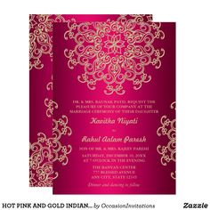 Shop Hot Pink Gold Indian Inspired Enclosure Card created by OccasionInvitations. Indian Wedding Cards, India Wedding, Wedding Gold, Invitation Card Design, Wedding Invitation Cards, Party Invitations, Indian American Weddings, Engagement Cards, Wedding Card Design