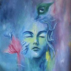 Meditating krishna - by CP Sharma, Acrylic on canvas. Lord Krishna Wallpapers, Radha Krishna Wallpaper, Shiva Art, Krishna Art, Krishna Statue, Ganesha Art, Lord Krishna Images, Radha Krishna Pictures, Krishna Painting