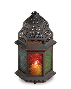 Large Moroccan Multicolor Candle Lantern Holder Pattern Glass Black Iron Frame  #Unbranded #Moroccan