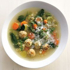 Chicken Meatball Minestrone with Ras El Hanout and Israeli Couscous Recipe Chicken Meatball Recipes, Chicken Meatballs, Turkey Meatballs, Terriyaki Meatballs, Parmesan Meatballs, Meatball Subs, Soup Recipes, Great Recipes, Cooking Recipes