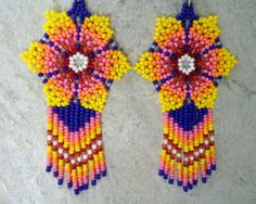 Your place to buy and sell all things handmade Seed Bead Jewelry, Seed Bead Earrings, Flower Earrings, Beaded Earrings, Seed Beads, Beaded Jewelry, Beaded Bracelets, Beaded Flowers Patterns, Beading Patterns