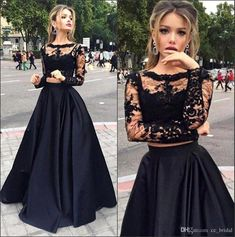 Sexy Sheer Black Two Pieces Evening Dresses 2016 With Long Sleeves Lace Prom Gowns Plus Size Top Satin A Line Women Pageant Gowns Online with $115.61/Piece on Cc_bridal's Store | DHgate.com