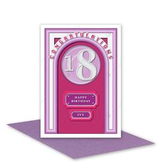 18th Happy Birthday girl card handmade modern 18 birthday card for female sister daughter niece granddaughter girl friend lilac mauve - pinned by pin4etsy.com