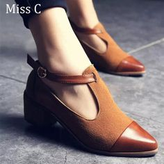 Online Shop 2016 Vintage Oxford Shoes Women Pointed Toe Cut Out Med Heel Patchwork Buckle Ladies Shoes Flats WFS112 | Aliexpress Mobile