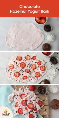 Put a little snap in your afternoon snack with Chocolate Hazelnut Yogurt Bark using Yoplait Greek 100 Strawberry Whips! Make this fun freeze-ahead snack from Lovely Lady Cakes by spreading a layer of yogurt on a baking sheet, add toppings like strawberrie Just Desserts, Delicious Desserts, Yummy Food, Tasty, Snack Recipes, Dessert Recipes, Cooking Recipes, Yogurt Recipes, Chocolate Hazelnut