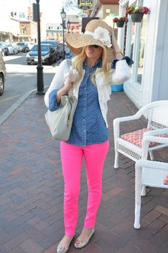 Neon pink skinny jeans & polka dot chambray.