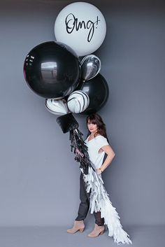 "Balloon Set : 36"" Black + White OMG!"