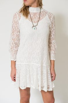 High-neck and long sleeved dress with lace overlay and included slip. Jojo Lace Dress by Knot Sisters. Clothing - Dresses - Casual Clothing - Dresses - Lace Louisiana