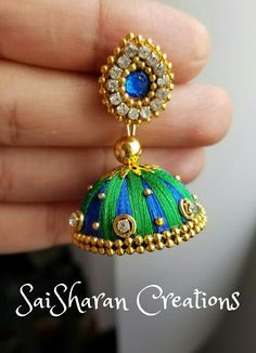Image result for silk thread jhumkas designs