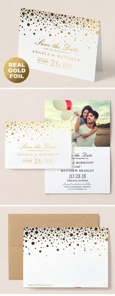 Shop Gold Foil Confetti Dots Wedding Save the Date Foil Card created by CardHunter. Save The Date Invitations, Save The Date Postcards, Save The Date Cards, Wedding Invitations, Foil Save The Dates, Modern Save The Dates, Wedding Save The Dates, Foil Card, Modern Fonts