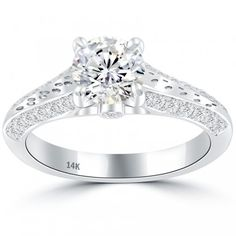 1.65 Carat E-SI1 Certified Natural Round Diamond Engagement Ring 14k White Gold