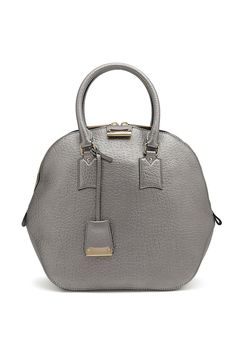 Silver Leather Medium Orchard Bowling Bag by Burberry