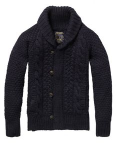 Shawl collar cable knit cardigan by Scotch & Soda