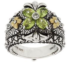 Barbara Bixby Sterling Silver & 18K Gold Gemstone Flower Ring