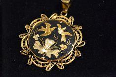 Black and gold dove pendant  #Pendant