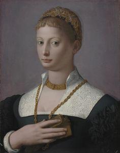 Portrait of a Woman, c. 1550 Agnolo Bronzino (Italian, 1503-1572)  oil on wood, Framed - h:81.50 w:68.50 d:5.00 cm (h:32 1/16 w:26 15/16 d:1 15/16 inches) Unframed - h:60.00 w:48.80 cm (h:23 9/16 w:19 3/16 inches). Leonard C. Hanna, Jr. Fund 1972.121