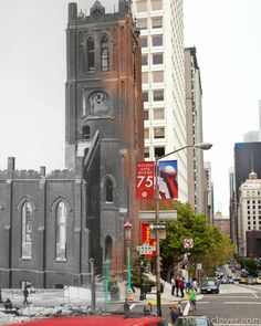 Composite Then and Now Photos of the 1906 San Francisco Earthquake: People walk beneath Old Saint Mary's Cathedral, which survived the quake but was gutted by the fire	 (Shawn Clover)