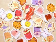 Cute Breakfast Sticker Pack of 28  Kawaii Toast by BeagleCakesArt