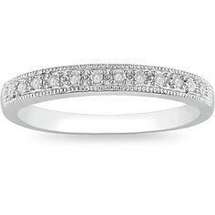 1/10 CT. T.W. Diamond Milgrain Wedding Band in 10K White Gold