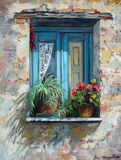 Window Box by Hercio Dias Drawing Pics Pinterest Arte, Garden Windows, Illustration Art, Illustrations, Painting Inspiration, Painting & Drawing, Drawing Pics, Painting Doors, Painting Abstract