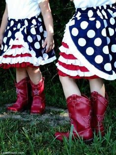 Twin country girls cute summer outdoors girls country boots 4th of july