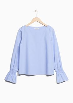 & Other Stories image 1 of Trumpet Sleeve Top in Blue