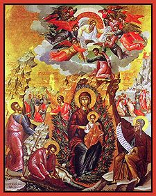 """Icon of the Mother of God """"the Unburnt Bush"""" - Orthodox Church in America It is believed that the earliest icons of the Unburnt Bush originated at Saint Catherine's Monastery on Mt. Sinai."""