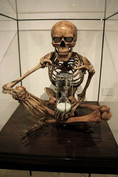 A Gentle Reminder by Hilary G .....for a cool Halloween decoration, I bet a creative person could pick up a skeleton from a party store, cut a couple of two liter soda bottles through the center and come close to this....think I might give it a go.