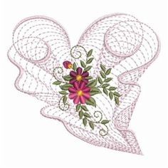 Ace Points Embroidery Design: Rippled Floral Hearts 3.56 inches H x 3.84 inches W