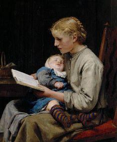 Albert Anker, portrait of Rose and Bertha Gugger