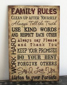 "Primitive wood sign 12"" x 18"" TAN FAMILY RULES Rustic Country Home Decor gift"