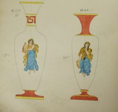 Harrach Glaswerks, 1860 Design Book No. 288, drawing depicting vases in classical shapes, featuring mythological lyre playing muses.